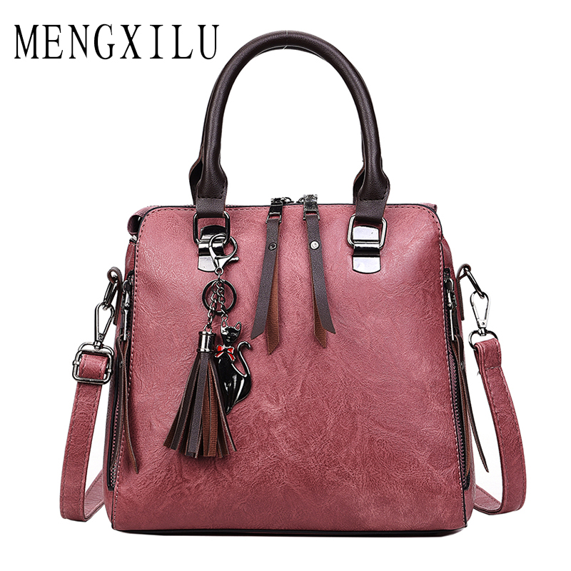 bc1adf3c4b9 MENGXILU Leather Bags Women Handbags Large Captain Boston Ladies ...