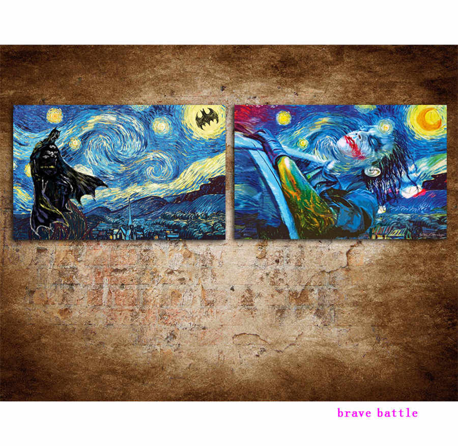 Van Gogh Batman Joker 2 Pieces Canvas Painting Print Living Room Home Decor Modern Wall Art Oil Painting