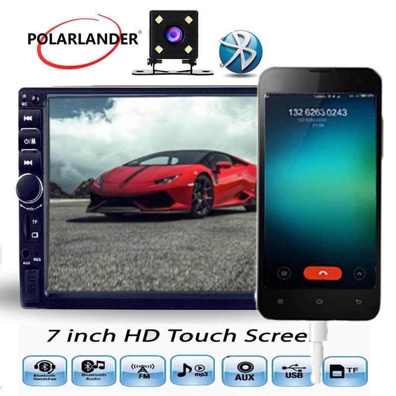2 DIN 7 pulgadas pantalla táctil Bluetooth soporte cámara de visión trasera manos libres FM USB TF AUX silencio agudos graves coche MP5 MP4 reproductor radio