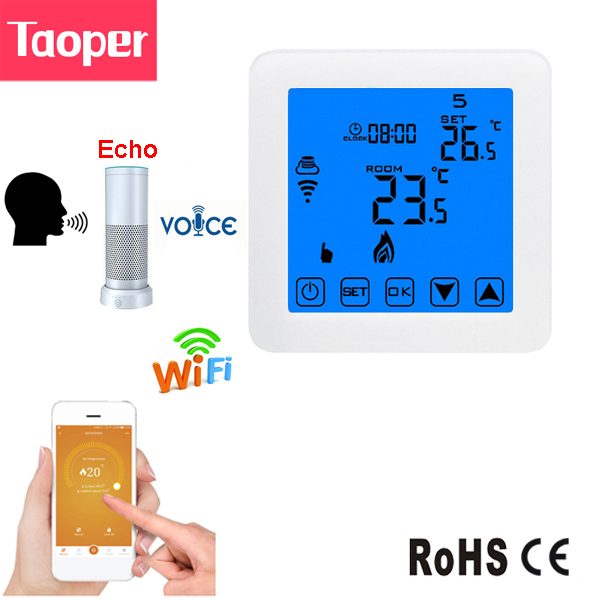WiFi Echo Alexa Room Thermostat Electric Floor Heating Room Temperature Remote Control Radiator Touch Screen 16A