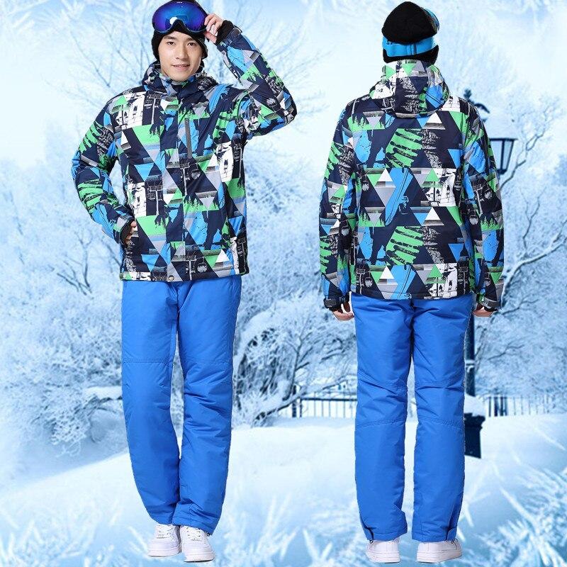 Prix pour Pas cher combinaison de Ski En Plein Air Imperméable Windpoof Ensemble Ski Veste Et Pantalon de Marque Hommes Hiver Ski Costume Ensemble de Snowboard Hommes coloré