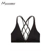 Missomo Solid Color Braid Back Pretty Bra Women Lace Up Belt Front Closure Bralettes Lady Lingerie