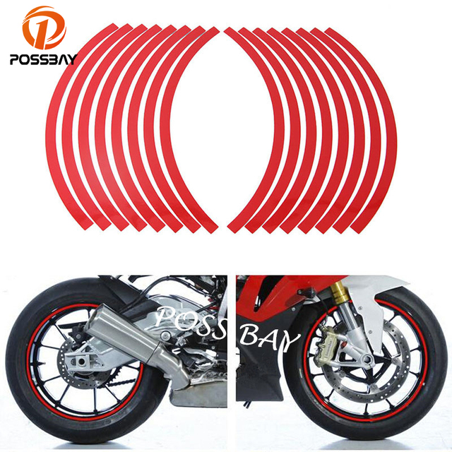 """POSSBAY 16 Pieces/Set Universal 10""""-12"""" Reflective Wheel Rim Stripe Tape Stickers Red Decal Fit Car Motorcycle Printing Film ATV"""