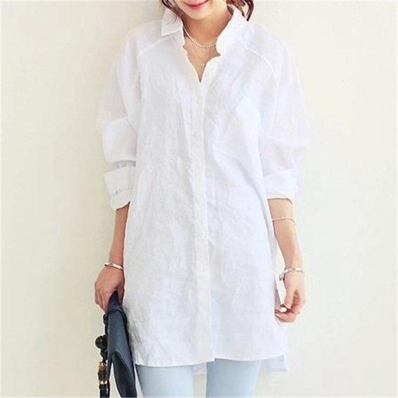 VogorSean/женские блузы; рубашка; сезон весна лето; женские офисные элегантные свободные топы и блузки; Белые Повседневные льняные женские
