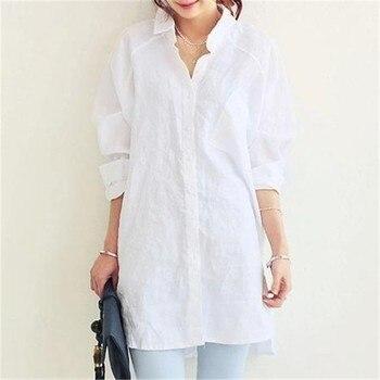 791c23e483d VogorSean Women Blouse Shirt 2018 Spring Summer Woman Blouses Office Lady  OL Elegant Loose Tops Large White Casual Linen Blusas