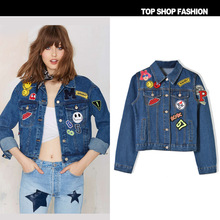 2016 new womens casual jacket Women's Jeans Jackets Short Spring Fashion Patch Designs Long Sleeve Denim Coat Slim Women Tops
