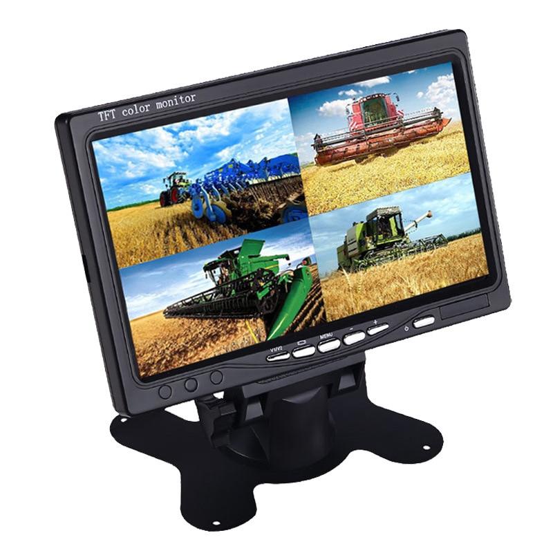 Style de bureau 7 pouces voiture 4 Split affichage AV Interface moniteur affichage moissonneuse inverseur Image camion système de stationnement moniteur