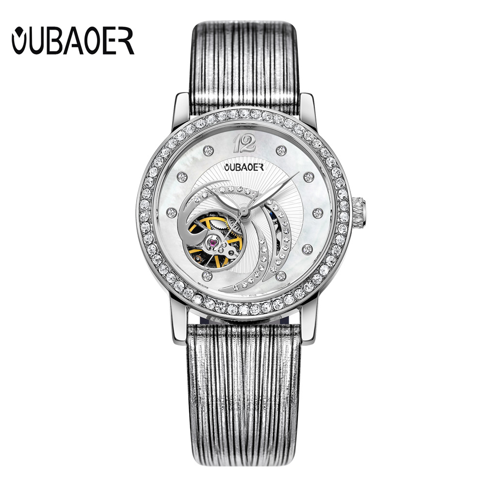 Relogios Femininos Luxury Brand Fashion Bracelet Watch Ladies Rhinestone Skeleton Automatic Watches Women Genuine Leather Watch