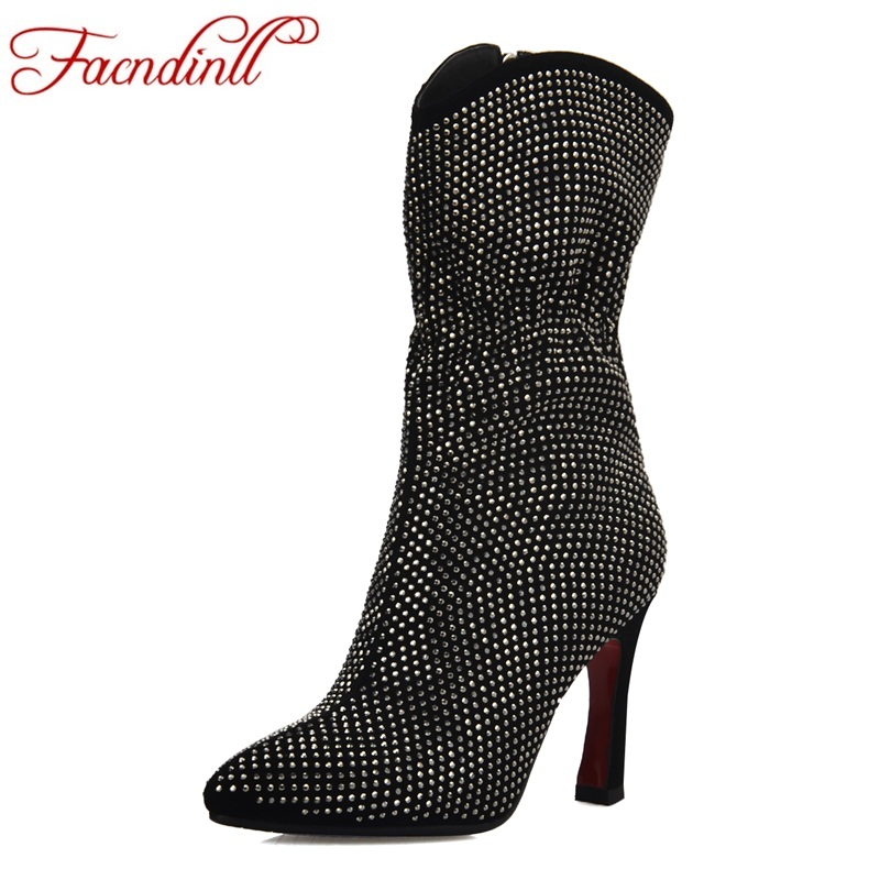 FACNDINLL fashion autumn winter ankle boots for women new sexy high thin heel zipper black red crystal dress party wedding boots new autumn winter women fashion ankle