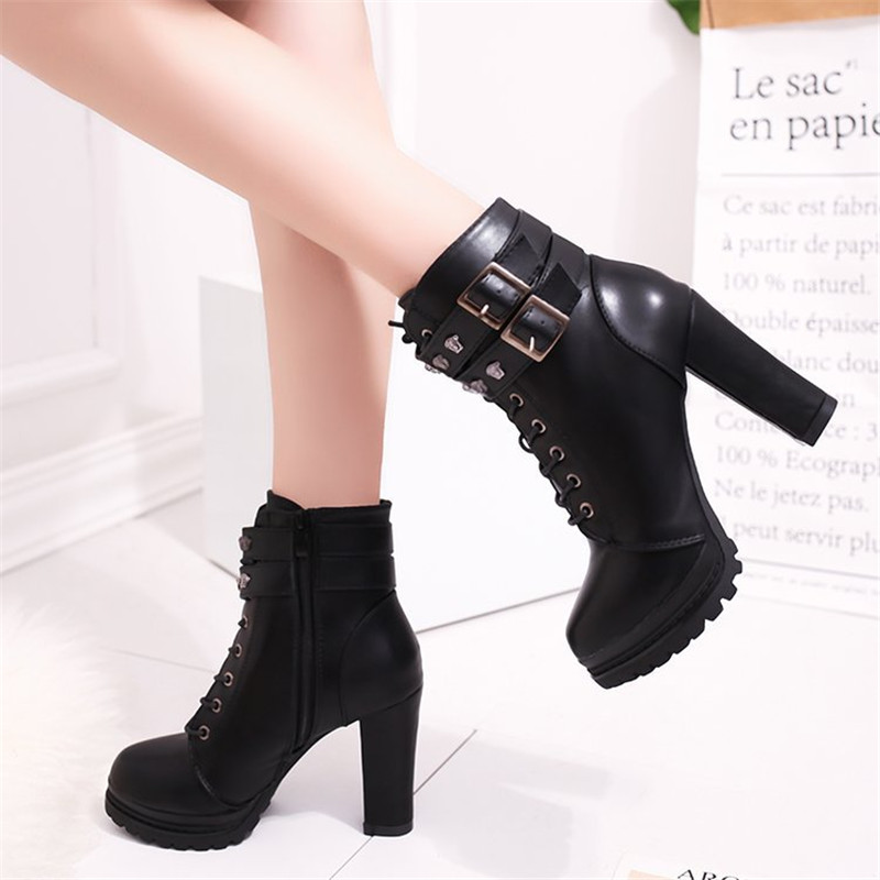 New Fashion Casual Women Boots Martin boots 2018 Autumn Winter Autumn Ankle Platform Ladies Boots PU Leather Shoes For Women Zip 5