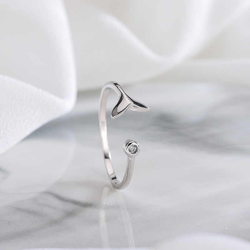 Bohemian Real 925 เงินสเตอร์ลิง Mermaid Tail แหวนสำหรับผู้หญิงงานแต่งงานแฟชั่นปรับแหวนโบราณ joyas de plata