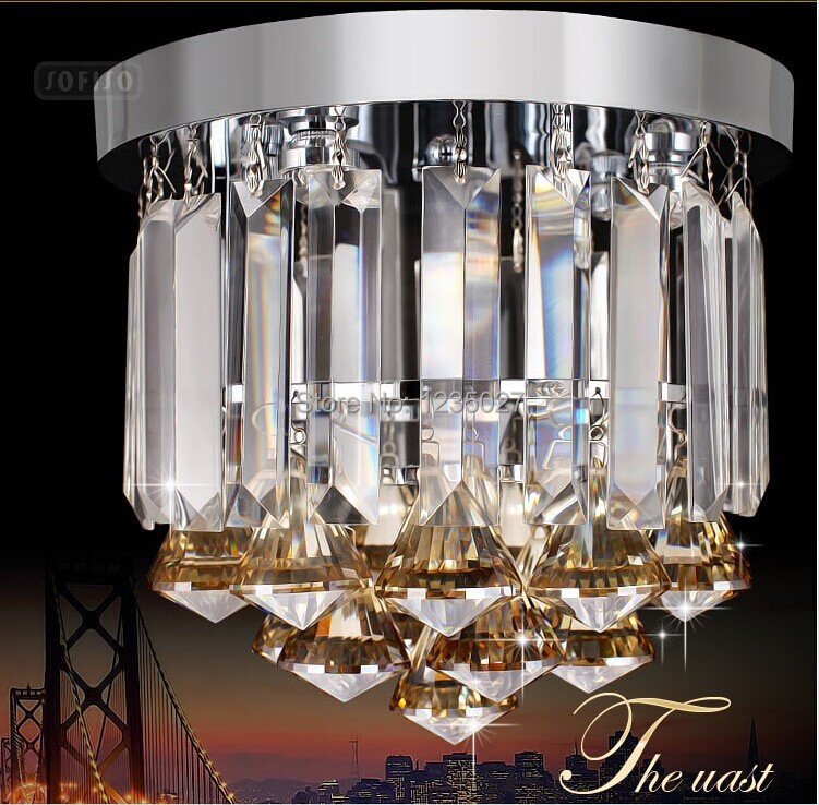 Modern Crystal Ceiling Lights of Corridor / Balcony / Porch Simple Bedroom Crystal Lamps Bar / Restaurant Home Lighting D250mm vintage ceiling lamps american style copper lamps ceiling light personality simple country balcony lamp home lighting corridor