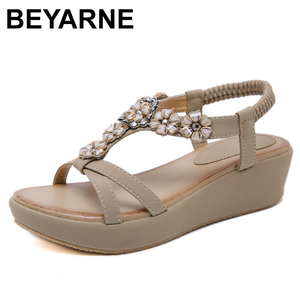 Image 1 - BEYARNEBohemian Summer Shoes Sweet Womens Flower Rhinestone Flat Sandals High Quality Casual Flats Plus Size 35 42 SandaliasE604