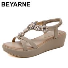 Beyarnebohemian 夏の靴スウィートレディース花ラインストーンフラットサンダル高品質カジュアルフラットプラスサイズ 35 42 SandaliasE604