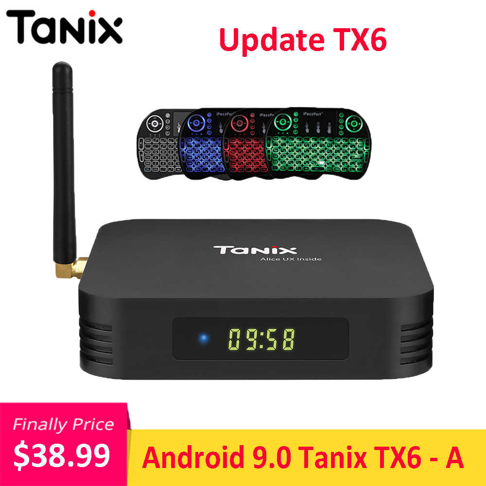 Tanix Cập Nhật TX6-A Android 9.0 TV BOX Allwinner H6 4 GB 64 GB 2.4 GHz 5 GHz WiFi BT4.1 Hỗ Trợ 4 K H.265 Bluetooth 4.0 WIFI TV Box