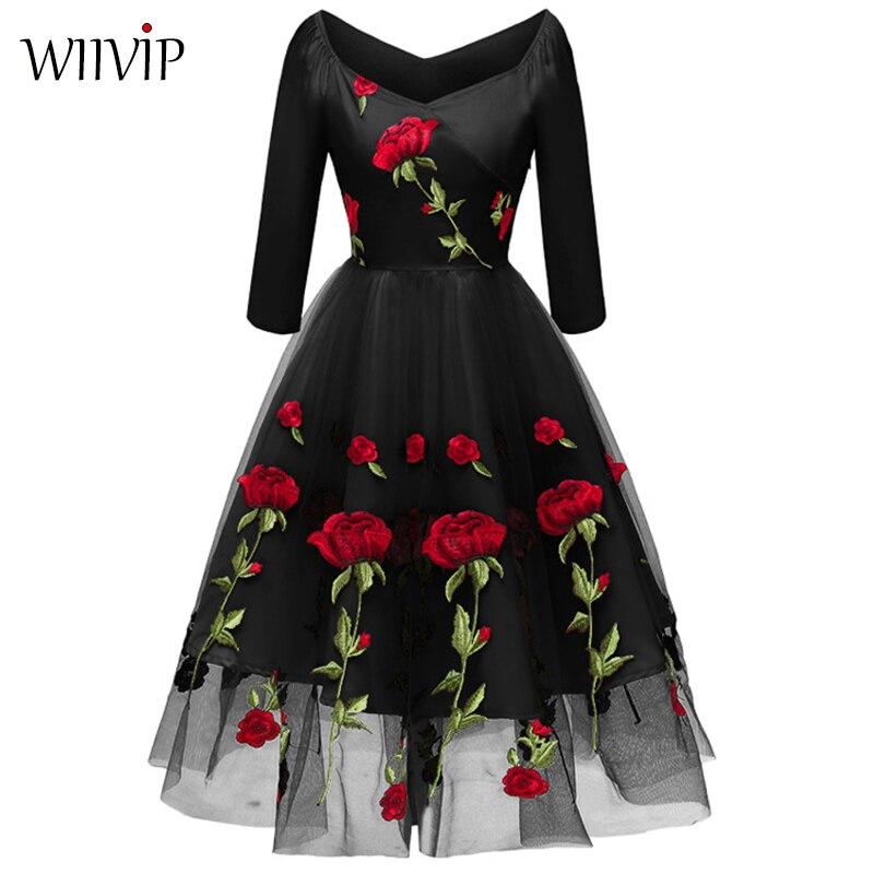 Nouvelle femme mode printemps automne broderie Rose a-ligne robe été 3/4 manches col en v belle élégante Vintage dame longue robe 9384