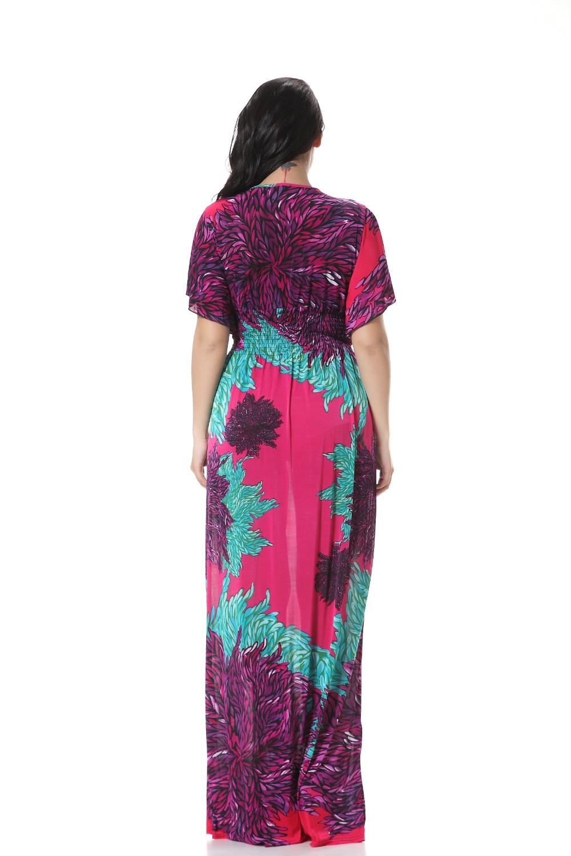 92daaf457eb Robe femme ete 2017 Women Summer Beach Long Maxi Dress V Neck Plus ...