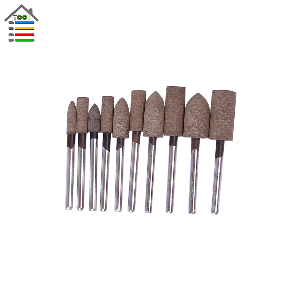 New 10pc Abrasive Mounted Stone Sharpening Cow Leather Polishing Point Grinding Tip for Dremel Electric Grinder Rotary Tool golf wood 5 head cover