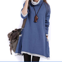 2013 New Winter Ladies Plus Size Long Loose Turtleneck Pullover Sweater Coat Womens Long Sleeve Thick