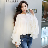 Original 2018 Spring New Long Sleeved Fashion Round Collar Butterfly Sleeve Romantic Loose Chiffon Blouse Women