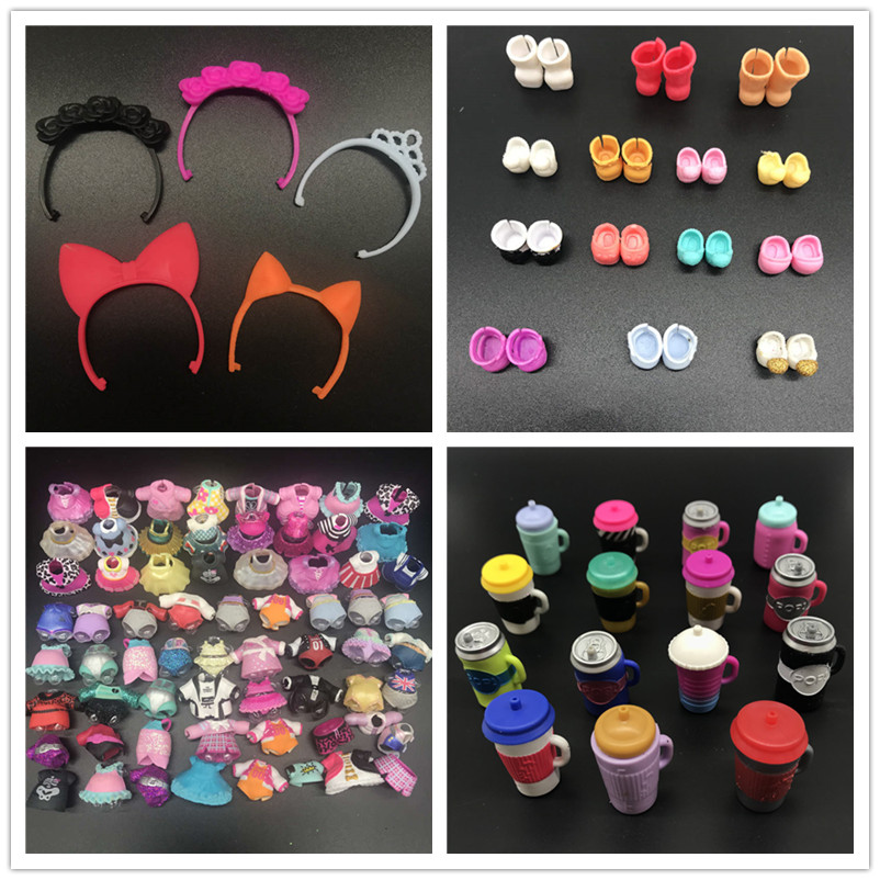 AOSST Original Doll Furniture Dress Clothes Shoes cup bag wig for DIY lols Big lil Sister Dolls accessories Kid Birthday Gift