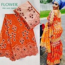 Оранжевый цвет красивый головной убор кружевная ткань с 2 ярдов блузка в сетку вышивка бисером золотая линия гипюр ткань африканские Бусины кружева