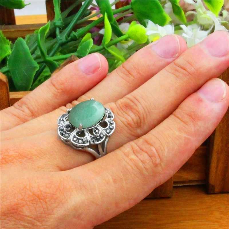 ธรรมชาติ Jades แหวนผู้หญิงวินเทจโบราณเงินชุบ Rhinestone พลัมดอกไม้แหวนแฟชั่นเครื่องประดับ TR693