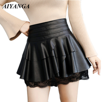 PU Skirts Women 2018 Autumn Winter Faux Leather Skirts Ladies Patchwork Lace High Waist Short Skirt Black Chic England Style