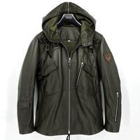 Мужская куртка из натуральной овечьей кожи в Военном Стиле с капюшоном для мужчины весна осень зеленый плюс размер xxxxxl