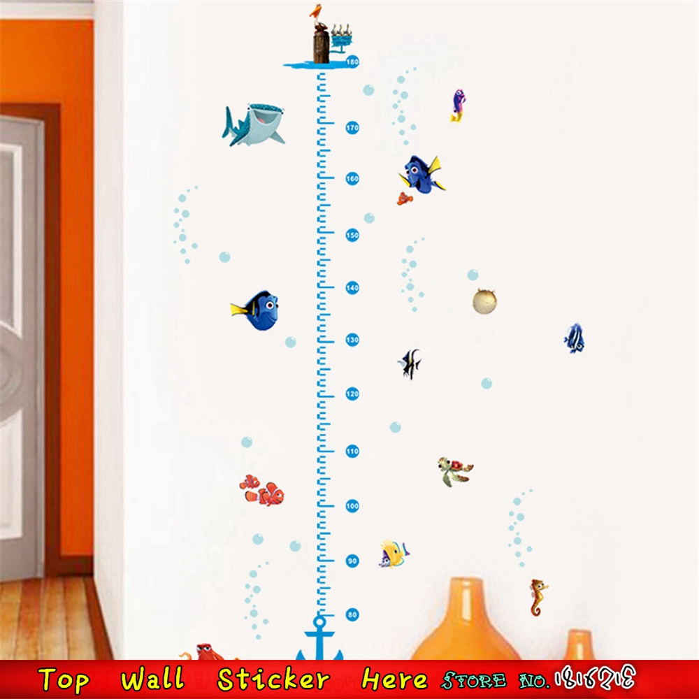 Cartoon nemo shark turtle fish wall sticker for kids room height cartoon nemo shark turtle fish wall sticker for kids room height measure growth chart wall decal child bedroom wall art stickers in wall stickers from home geenschuldenfo Image collections