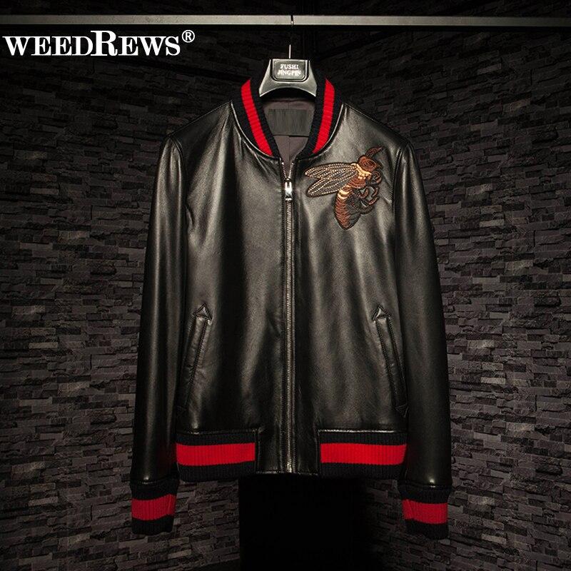 2017 New Arrival Men Genuine Sheepskin Leather Jacket Black Short Design Embroidery Craft Slim Real Leather Coat Outerwear L-4XL
