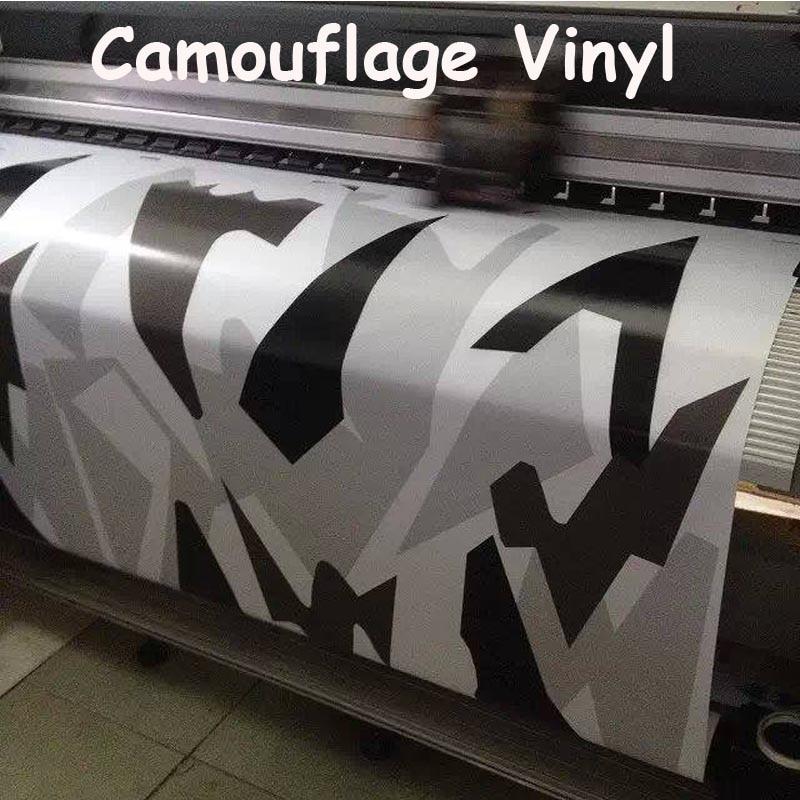 White Black Grey Snow Camo Vinyl Car Wrap Styling With Air