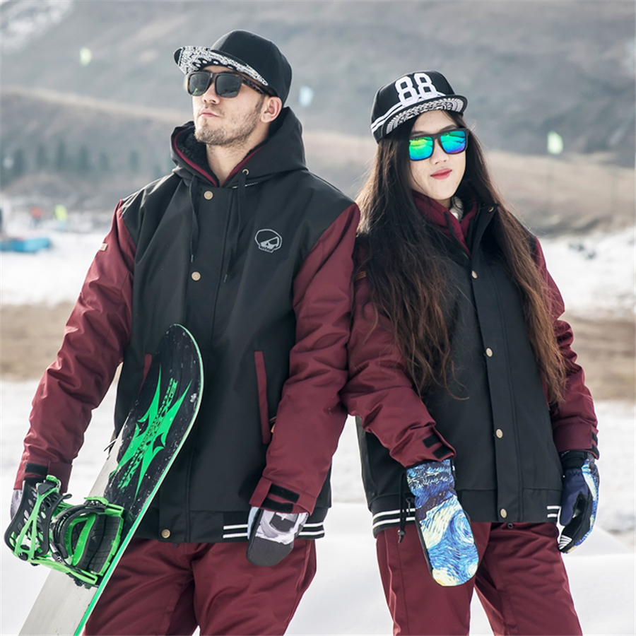 Doorek Professional Men Women Winter Ski Jacket Warm Waterproof Breathable Skiing Snowboard Clothing Hooded Jacket Burgundy