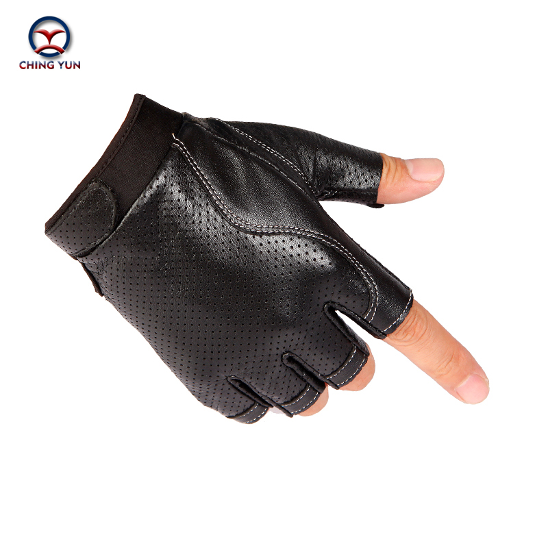 CHING YUN 2019 Man High Quality Leather Gloves Fingerless Gloves Tactical Male Semi-finger Protective Ride Non-slip Mitts  2266
