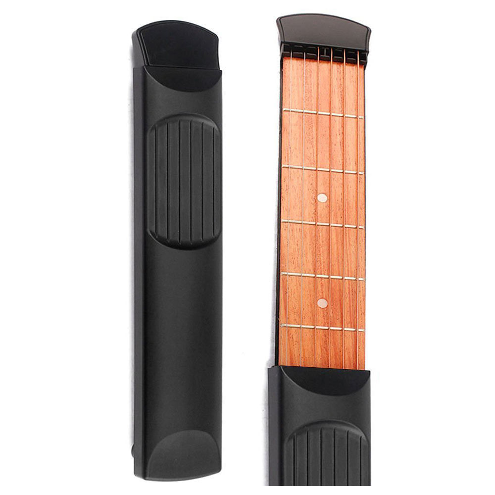 Portable Pocket Guitar 4 Fret Model Wooden Practice 6 Strings Guitar Trainer Tool Gadget for Beginners