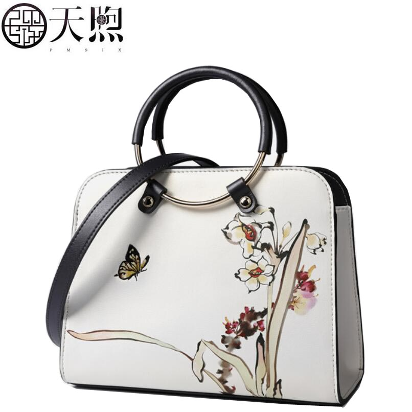 TMSIX 2018 New women leather bags Cowhide bag tote women bag fashion Embroidery designer handbags leather shoulder Crossbody bag купить дешево онлайн