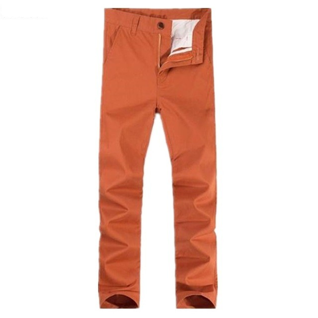 Free shipping plus size big straight cotton elastic high waist <font><b>jeans</b></font> casual military pants loose orange large long trousers