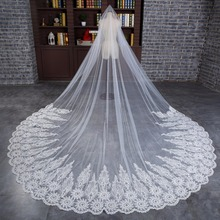 2018 New 4 M One Layer Long Bridal Veil with Comb Tulle Beaded Lace Edge Cathedral Wedding