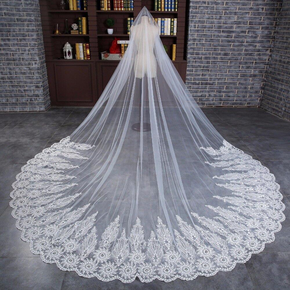 2018 nouveau 4 M une couche longue voile de mariée avec peigne Tulle perlé dentelle bord cathédrale mariage voile avec cristal accessoires de mariage