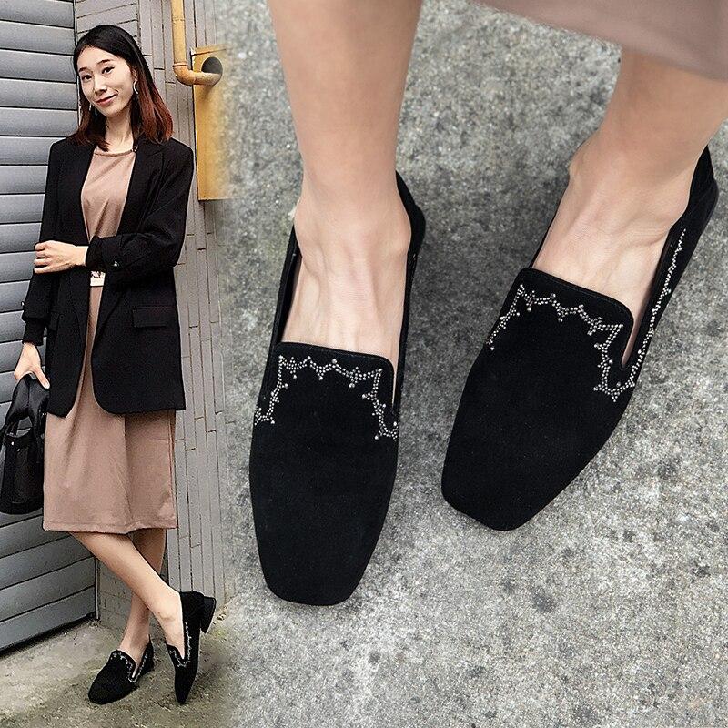 Noir Lady Femmes De En Casual Luxe Plat 2019 Slip Suede on Cuir ardoisé Femme Mode Printemps Appartements Kid Souple Chaussures Mocassins Yw15vHq