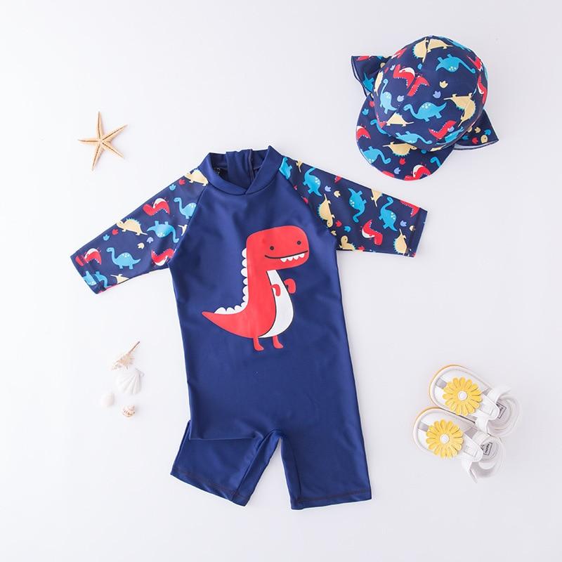 New Unicorn Dinosaur One Piece Swimsuit Cap Baby Swimwear Bathing Kids Boys Girls 3/4 Sleeve Swimwear Sun-Protection Cartoon
