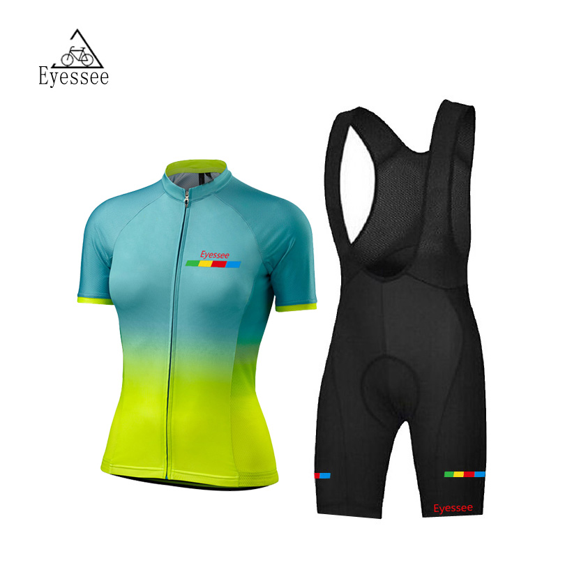 Summer breathable quick-sleeved women short-sleeved cycling clothing / 2018 Eyessee female team competition cycling jersey