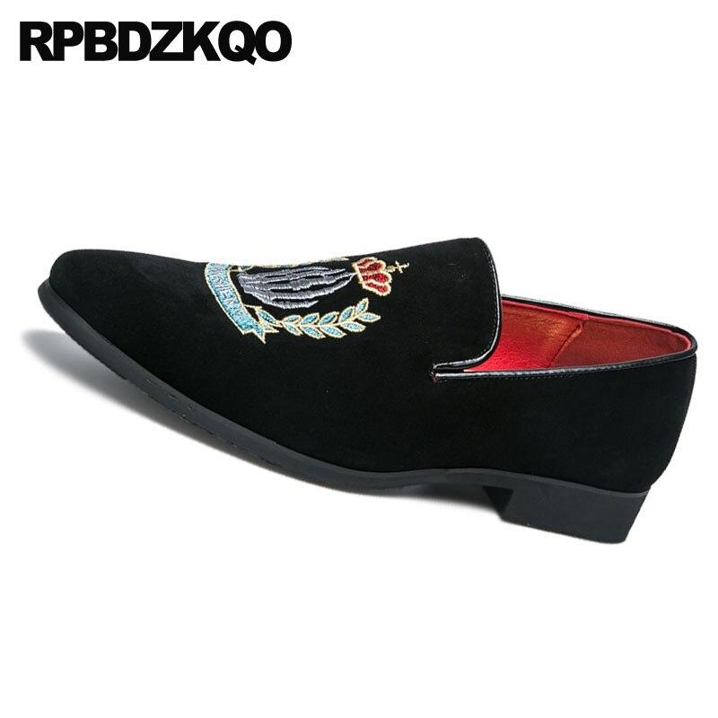 En Daim Confort Chaussures Caoutchouc On Broderie Designer Casual Partie Cuir Club Taille Slip Style Noir Britannique Bout Hommes Pointu Grande rouge Noir 4U6SZ