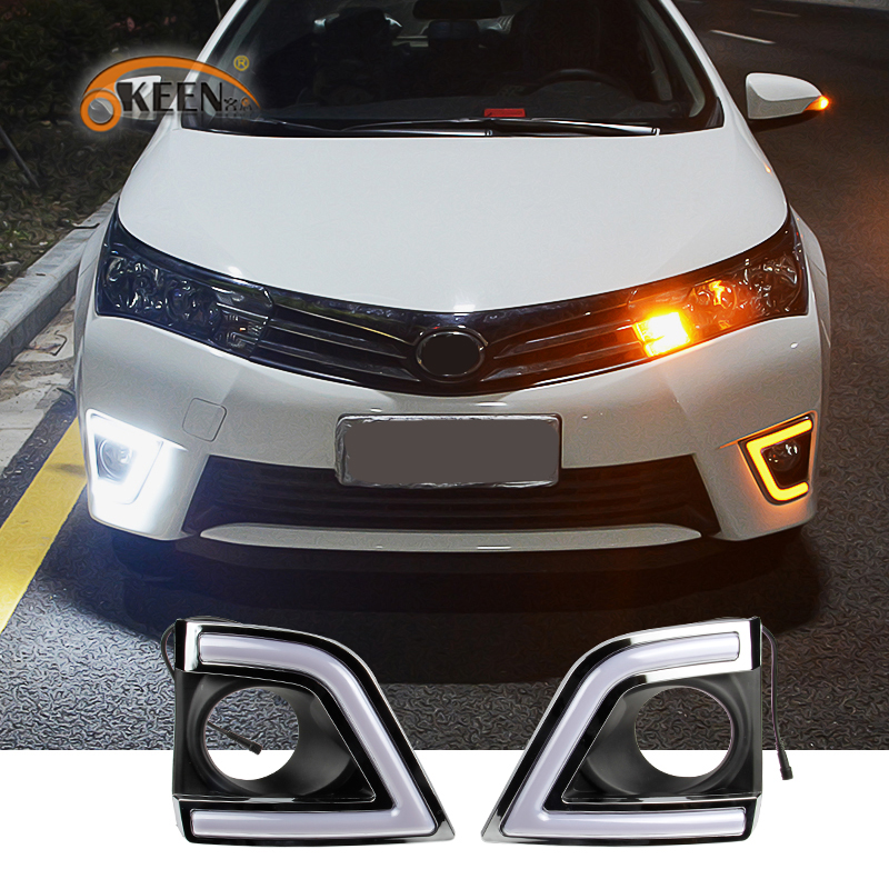 OKEEN Car Daytime Running Light Assembly For Toyota Corolla 2014 2015 2016 White Amber Blue LED DRL 6000K Waterproof Signal Lamp akd car styling led drl for toyota corolla 2014 2015 new altis eye brow light led external lamp signal parking accessories
