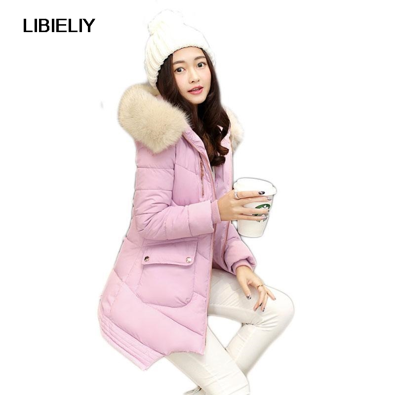 Nice New Winter Padded Jacket Women Long Solid Slim Hooded Cotton Coat With Fur Collar Thick Warm Outwear Female Clothe 2017 winter new coat womens long slim hooded large fur collar thick cotton warm jacket for female zipper pattern epaulet padded