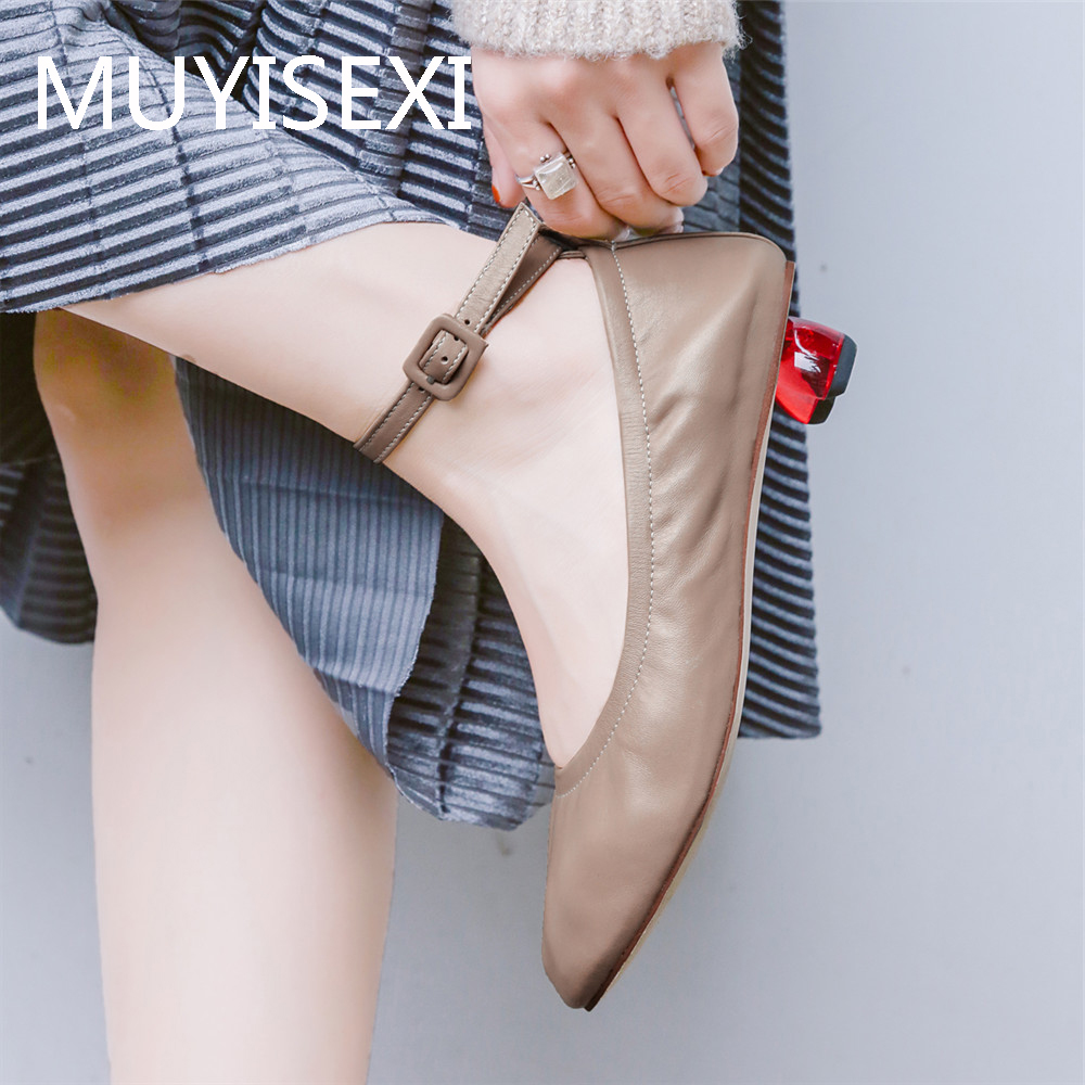Ankle Strap Nude Women Shoes Sheepskin Shallow Round Toe Red 2 5 cm Heels Soft Comfortable