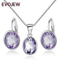 100% 925 Sterling Silver Biżuteria Ślubna Zestawy dla Kobiet Olśniewający Fioletowy Kryształ Hoop Kolczyki Wisiorek Naszyjnik walentynki Prezent
