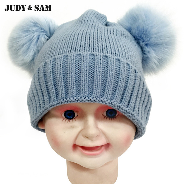 4a739cf6e52 Kids Beanie Hat With Two Bobble Not Removable Fox Fur Pompom Knitting Big  Size 30%
