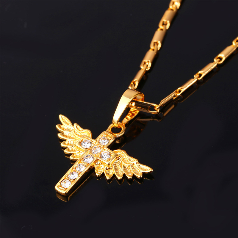 U7 Angel Wings Cross Pendant Necklace Gold Color Crystal Christian