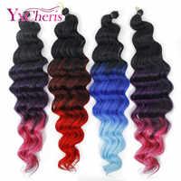 Crochet tresses extensions synthétiques doux tressage cheveux longs faisceaux profonds bouclés vague crochet extension de cheveux